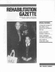 Rehabilitation Gazette (Vol. 27, No. 1, 1986) - Polio Place