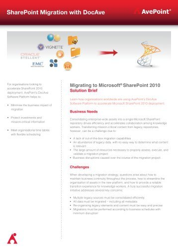 Migrating to Microsoft SharePoint 2010 - AvePoint