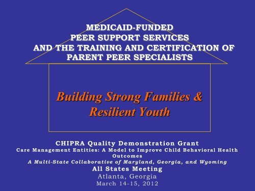 medicaid funded peer support services and the - Department of ...