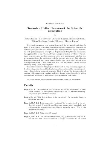 Towards a Unified Framework for Scientific Computing Details - Dune