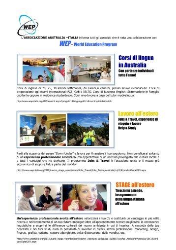 Corsi di lingua in Australia Lavoro all'estero STAGE all'estero