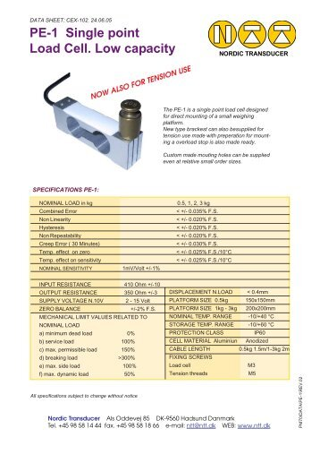 PE-1 Single point Load Cell. Low capacity - NTT Home Page : Load ...
