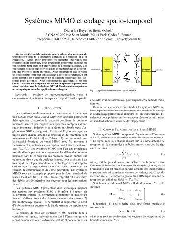 Systèmes MIMO et codage spatio-temporel - CiteSeerX