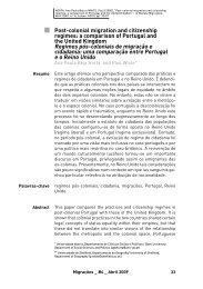 Post-colonial migration and citizenship regimes - Observatório da ...