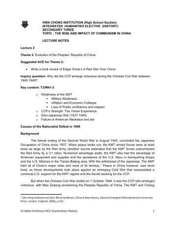 The Chinese Civil War - Hwa Chong Institution