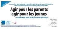 Agir pour les parents agir pour les jeunes - Injep