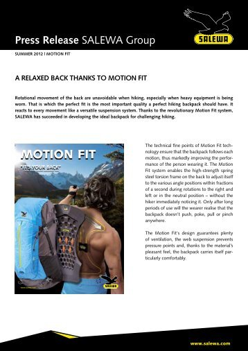 A relaxed back thanks to Motion Fit (PDF - Salewa