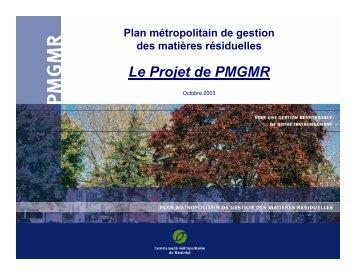 du projet de plan métropolitain de gestion des matières résiduelles ...