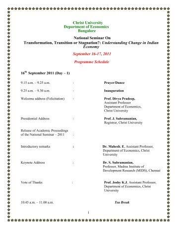 Christ University Department of Economics Bangalore National ...