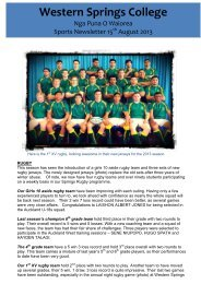 WSC Sports Newsletter 12 Aug 2013 - Western Springs College