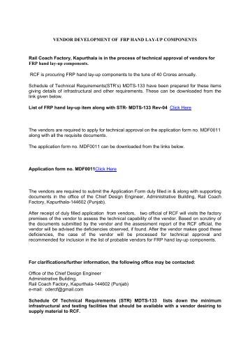 Vendor Development for FRP items - Rail Coach Factory