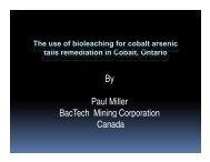 By Paul Miller BacTech Mining Corporation Canada - BacTech Green