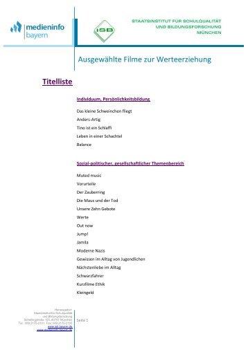 Ausgewählte Filme zur Werteerziehung - mebis - Bayern