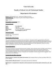 Faculty of Liberal Arts & Professional Studies - York University