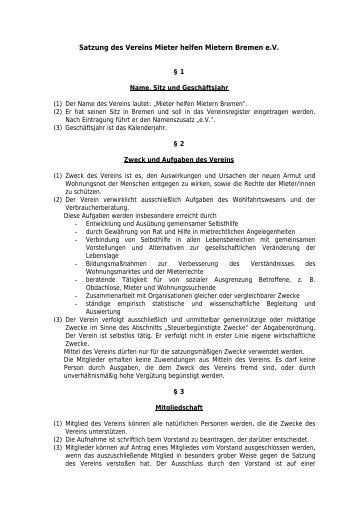 Satzung des Vereins Mieter helfen Mietern Bremen e.V.