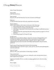Intern Project Description Project Title: Chief Historian Intern ...