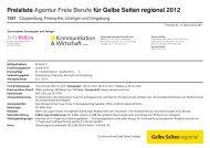 Preisliste Agentur Freie Berufe für Gelbe Seiten regional 2012