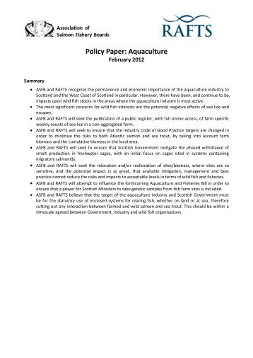 ASFB/RAFTS Policy Paper on Aquaculture - Association of Salmon ...