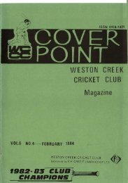 WESTON CREEK CRICKET CLUB agazine