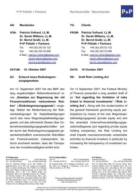 Patricia Volhard, LL.M. Dr. Sarah Wilkens, LL.M. - P+P Pöllath + ...