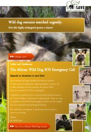 Wild Dog SOS - SAVE Wildlife Conservation Fund