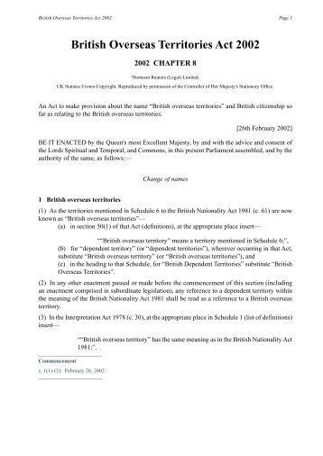 British Overseas Territories Act 2002 - EUDO Citizenship