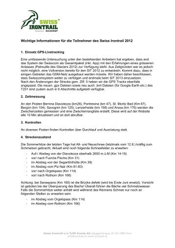 Wichtige Informationen für die Teilnehmer des Swiss Irontrail 2012