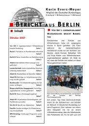 Bericht aus Berlin Oktober 2007 - Karin Evers-Meyer MdB