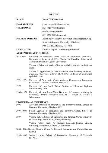 naming a resume