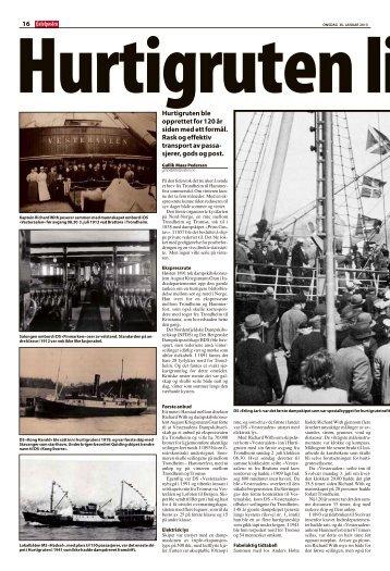16 Hurtigruten ble opprettet for 120 år siden med ett ... - TVU-INFO