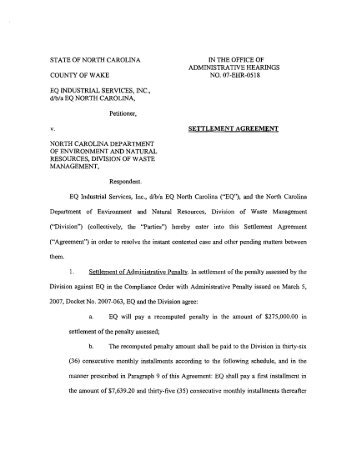 Settlement Agreement - NC Dept. of Environment and Natural ...