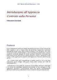 Introduzione all'Approccio Centrato sulla Persona - ACP