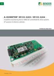Headline A-ISOMETER® IR155-3203 / IR155-3204 - Bender ...