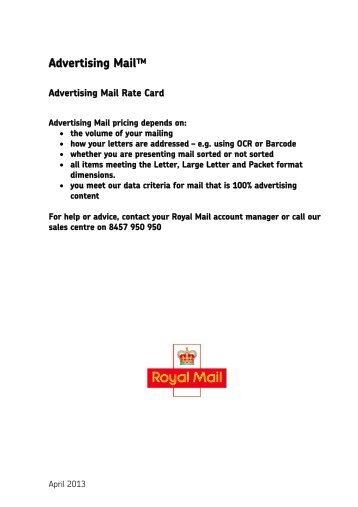 Advertising Mail Rate Card - Royal Mail