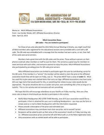 Memo to: NALA Affiliated Associations From: Lisa Vander Weide ...