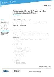 Citrix : Conception et définition de l'architecture d'une solution de ...