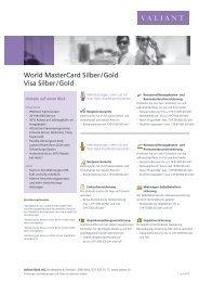 World MasterCard Silber / Gold Visa Silber / Gold - Valiant Bank
