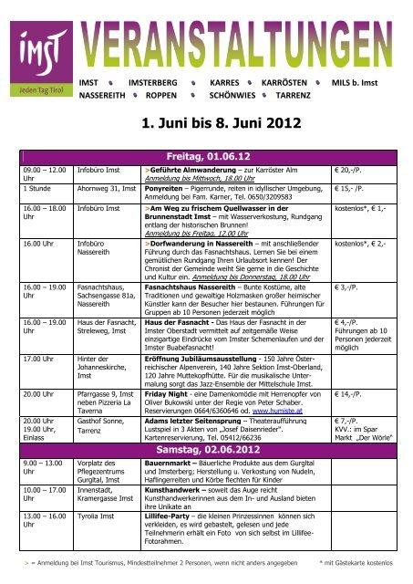 1. Juni bis 8. Juni 2012 - Imst - Jeden Tag Tirol