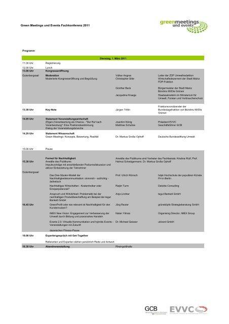 Green Meetings und Events Fachkonferenz 2011