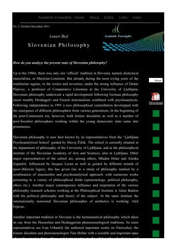 Slovenian Philosophy - Academic Foresights