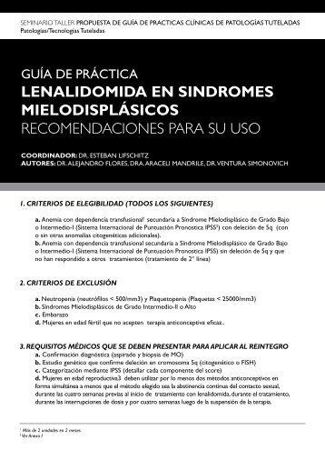 LenaLidomida en SindromeS mieLodiSpLáSicoS ...