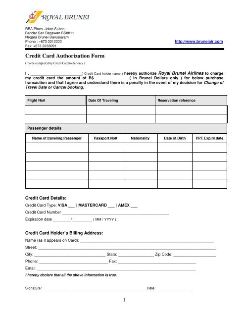 Credit Card Authorization Form - Royal Brunei Airlines Indonesia