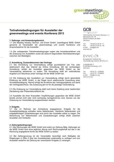 Teilnahmebedingungen - Green Meetings & Events