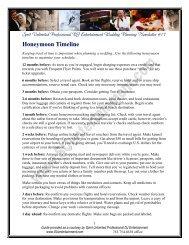Honeymoon Timeline - Spirit Unlimited Professional DJ Entertainment