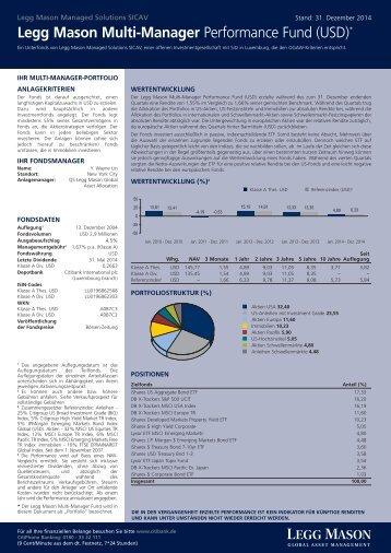 Legg Mason Multi-Manager Performance Fund (USD)*