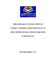 preliminary investigation of energy conservation potential in the