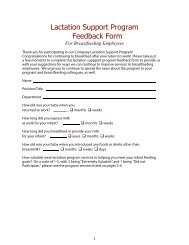 Lactation Support Program Feedback Form - WomensHealth.gov