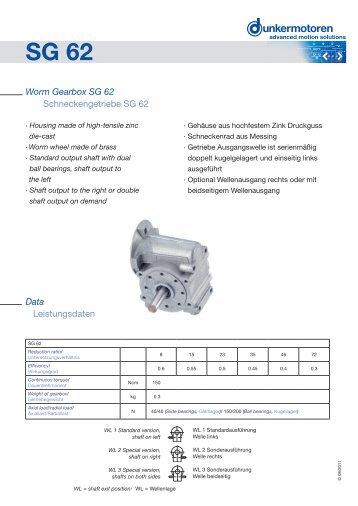 Worm Gearbox SG 62 Schneckengetriebe SG 62 ... - Dunkermotoren