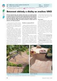 Betonové obklady a dlažby se značkou VIKO - Stavebnictví a interiér