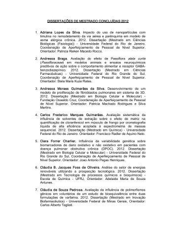 Dissertações 2012 - INCT-Inofar - UFRJ